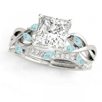 Twisted Princess Aquamarines & Diamonds Bridal Sets 14k White Gold (1.23ct)