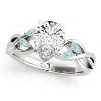 Twisted Pear Aquamarines & Diamonds Bridal Sets 14k White Gold (1.23ct)
