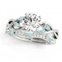 Twisted Round Aquamarines & Diamonds Bridal Sets 14k White Gold (1.23ct)