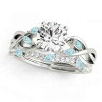 Twisted Round Aquamarines & Diamonds Bridal Sets 14k White Gold (1.73ct)