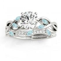 Marquise Aquamarine & Diamond Bridal Set Setting 14k White Gold (0.43ct)