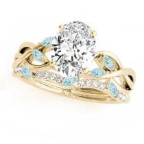 Twisted Oval Aquamarines & Diamonds Bridal Sets 14k Yellow Gold (1.73ct)