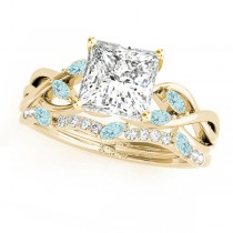 Twisted Princess Aquamarines & Diamonds Bridal Sets 14k Yellow Gold (1.23ct)