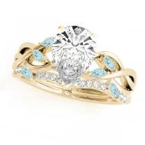 Twisted Pear Aquamarines & Diamonds Bridal Sets 14k Yellow Gold (1.23ct)