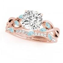 Twisted Cushion Aquamarines & Diamonds Bridal Sets 18k Rose Gold (1.23ct)