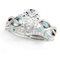 Twisted Pear Aquamarines & Diamonds Bridal Sets 18k White Gold (1.23ct)