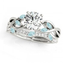 Twisted Round Aquamarines & Moissanites Bridal Sets 18k White Gold (1.73ct)