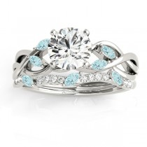 Marquise Aquamarine & Diamond Bridal Set Setting 18k White Gold (0.43ct)