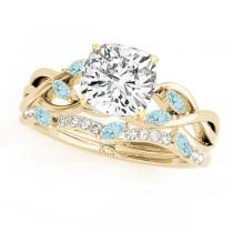 Twisted Cushion Aquamarines & Diamonds Bridal Sets 18k Yellow Gold (1.73ct)