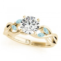 Twisted Round Aquamarines & Diamonds Bridal Sets 18k Yellow Gold (0.73ct)