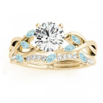 Marquise Aquamarine & Diamond Bridal Set Setting 18k Yellow Gold (0.43ct)