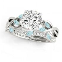 Twisted Cushion Aquamarines & Diamonds Bridal Sets Palladium (1.73ct)