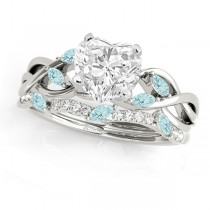 Twisted Heart Aquamarines & Diamonds Bridal Sets Palladium (1.23ct)