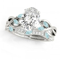 Twisted Oval Aquamarines & Diamonds Bridal Sets Palladium (1.23ct)