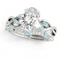 Twisted Oval Aquamarines & Diamonds Bridal Sets Palladium (1.73ct)