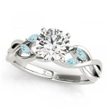 Twisted Round Aquamarines & Diamonds Bridal Sets Platinum (0.73ct)