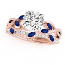 Twisted Cushion Blue Sapphires & Diamonds Bridal Sets 14k Rose Gold (1.23ct)