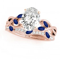 Twisted Oval Blue Sapphires & Diamonds Bridal Sets 14k Rose Gold (1.23ct)