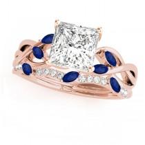 Twisted Princess Blue Sapphires & Diamonds Bridal Sets 14k Rose Gold (0.73ct)