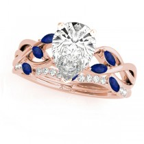 Twisted Pear Blue Sapphires & Diamonds Bridal Sets 14k Rose Gold (1.23ct)