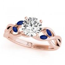 Twisted Round Blue Sapphires & Diamonds Bridal Sets 14k Rose Gold (0.73ct)