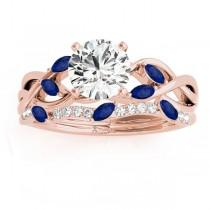 Marquise Blue Sapphire & Diamond Bridal Set Setting 14k Rose Gold (0.43ct)