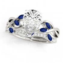 Twisted Pear Blue Sapphires & Diamonds Bridal Sets 14k White Gold (1.73ct)