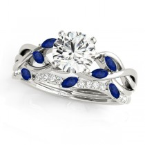 Twisted Round Blue Sapphires & Diamonds Bridal Sets 14k White Gold (0.73ct)