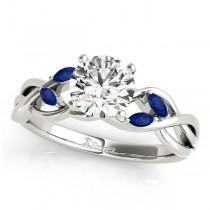Twisted Round Blue Sapphires & Diamonds Bridal Sets 14k White Gold (0.73ct)