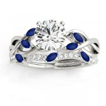 Marquise Blue Sapphire & Diamond Bridal Set Setting 14k White Gold (0.43ct)