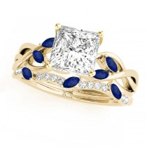 Twisted Princess Blue Sapphires & Diamonds Bridal Sets 14k Yellow Gold (0.73ct)