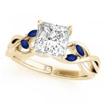 Twisted Princess Blue Sapphires & Diamonds Bridal Sets 14k Yellow Gold (1.73ct)