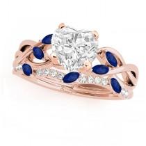 Twisted Heart Blue Sapphires & Diamonds Bridal Sets 18k Rose Gold (1.23ct)
