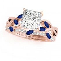 Twisted Princess Blue Sapphires & Diamonds Bridal Sets 18k Rose Gold (0.73ct)