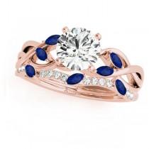 Twisted Round Blue Sapphires & Moissanites Bridal Sets 18k Rose Gold (0.73ct)