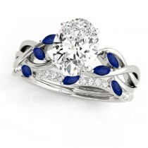 Twisted Oval Blue Sapphires & Diamonds Bridal Sets 18k White Gold (1.73ct)
