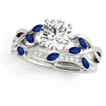 Twisted Round Blue Sapphires & Moissanites Bridal Sets 18k White Gold (0.73ct)