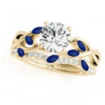 Twisted Round Blue Sapphires & Moissanites Bridal Sets 18k Yellow Gold (1.23ct)