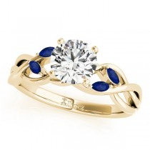Twisted Round Blue Sapphires & Diamonds Bridal Sets 18k Yellow Gold (0.73ct)