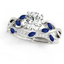 Twisted Round Blue Sapphires & Moissanites Bridal Sets Palladium (0.73ct)