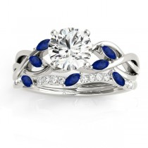 Marquise Blue Sapphire & Diamond Bridal Set Setting Platinum (0.43ct)