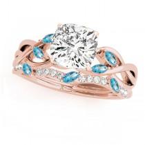 Twisted Cushion Blue Topazes & Diamonds Bridal Sets 14k Rose Gold (1.23ct)