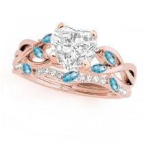 Twisted Heart Blue Topazes & Diamonds Bridal Sets 14k Rose Gold (1.23ct)