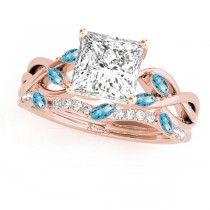 Twisted Princess Blue Topazes & Diamonds Bridal Sets 14k Rose Gold (1.23ct)