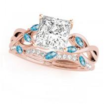 Twisted Princess Blue Topazes & Diamonds Bridal Sets 14k Rose Gold (1.73ct)