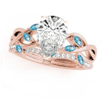 Twisted Pear Blue Topazes & Diamonds Bridal Sets 14k Rose Gold (1.23ct)