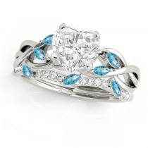 Twisted Heart Blue Topazes & Diamonds Bridal Sets 14k White Gold (1.23ct)