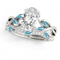 Twisted Oval Blue Topazes & Diamonds Bridal Sets 14k White Gold (1.73ct)
