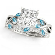 Twisted Princess Blue Topazes & Diamonds Bridal Sets 14k White Gold (1.23ct)