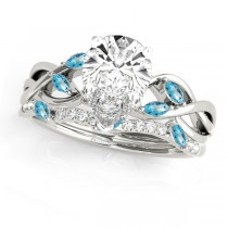 Twisted Pear Blue Topazes & Diamonds Bridal Sets 14k White Gold (1.23ct)